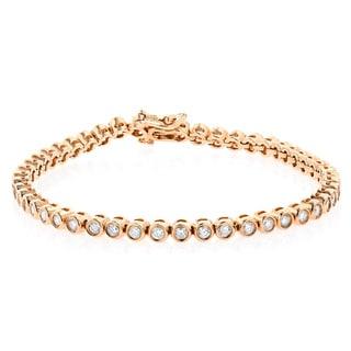 Luxurman 14k Gold 2 1/5ct TDW Diamond Tennis Bracelet Bezel Set (G-H, SI1-SI2)