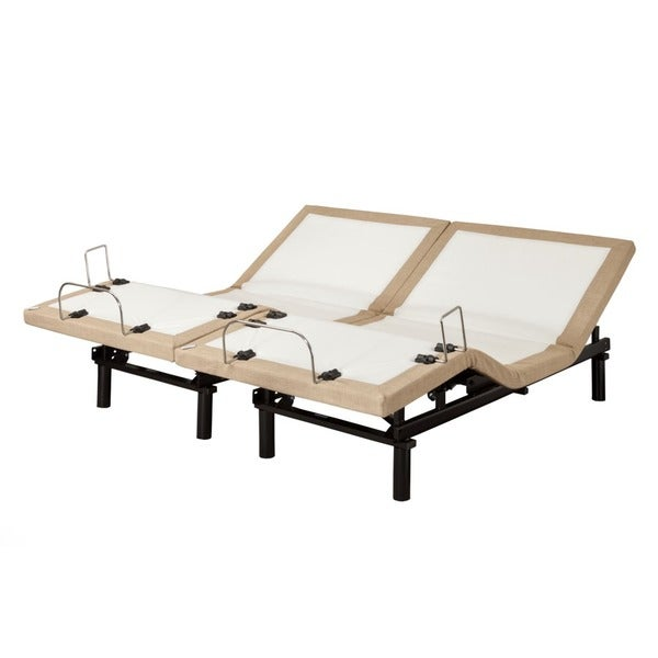 Sleep Zone M-200 Split King-size Adjustable Bed with Three Programmable Positions, Silver Remote and Side Retainer Bar