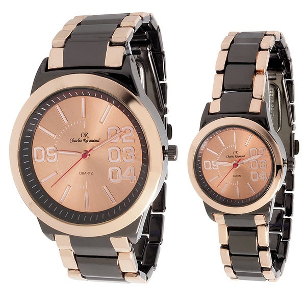 Charles Raymond His & Hers 2142 Rose Goldtone Watch Set