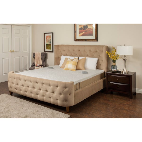 Sleep Zone M-300 Dum Dum Stone Split California King Adjustable Bed with Three Programmable Positions