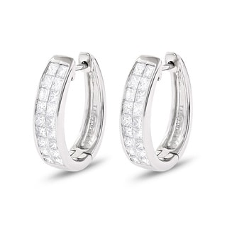 Luxurman 14k White Gold 1 1/4ct TDW Princess Diamond Earrings (G-H, VS1-VS2)