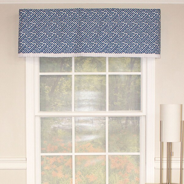 Tailored Cobalt Trellis Straight Valance