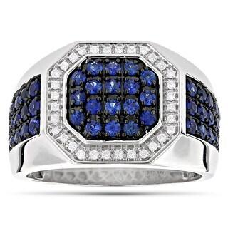 Luxurman 14k White Gold Men's 1 7/8ct TDW Diamond and Blue Sapphire Ring (G-H, VS1-VS2)
