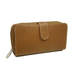 Piel Leather Women's Multi-Compartment Zip-Around Wallet