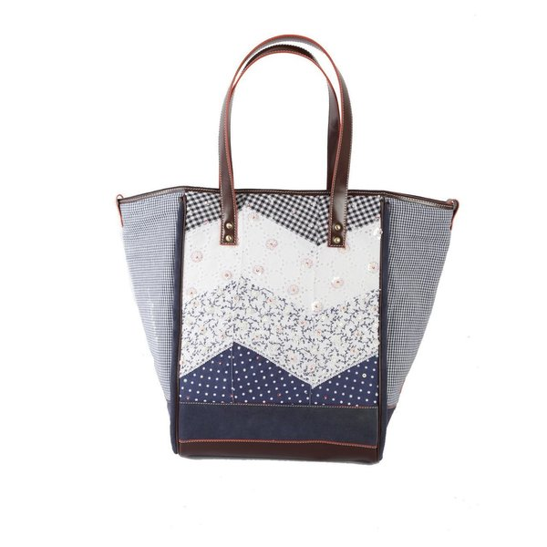 Ivory Tag Patched Up Blue Leather and Fabric Tote (India)