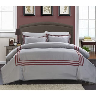 Chic Home 3-Piece Palani Modern Hotel Collection Red Duvet Set