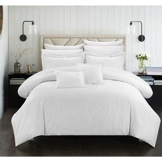 Porch & Den Mason Down Alternative Jacquard White Striped 7-piece Comforter Set