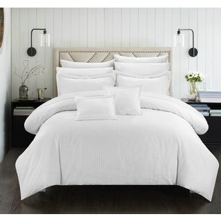 Chic Home Keynes Down Alt Jacquard White Striped 7-Piece Comforter Set