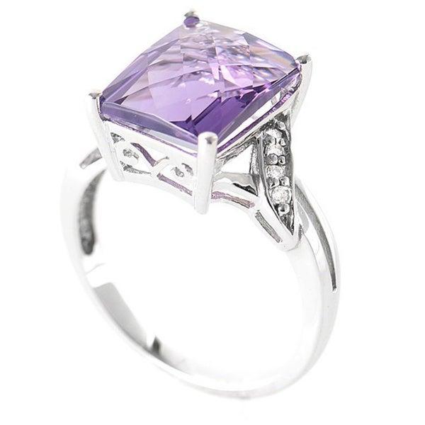 10K White Gold Diamond and Amethyst Gemstone Ring