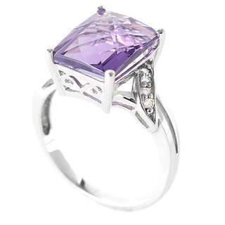 10K White Gold Diamond and Amethyst Gemstone Ring