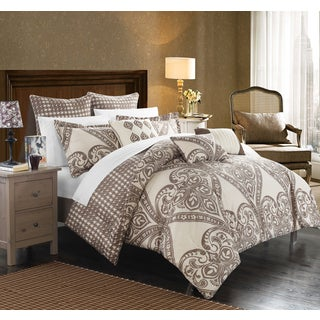Chic Home Perugia Beige Oversized Reversible 8-piece Comforter Set