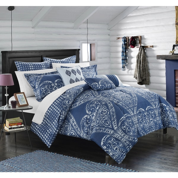 Chic Home Perugia Navy Oversized Reversible 8-piece Comforter Set