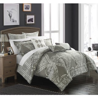 Chic Home Perugia Silver Oversized Reversible 12-piece Bed in a Bag with Sheet Set