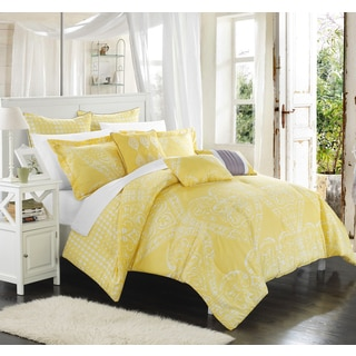 Chic Home Perugia Yellow Oversized Reversible 12-Piece Bed in a Bag with Sheet Set