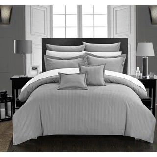 Chic Home Keynes Down Alt Jacquard Silver Striped 7-Piece Comforter Set