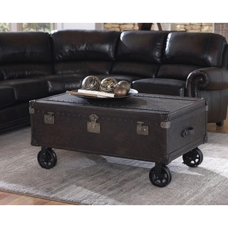 Lazzaro Leather General Two Drawer Steamer Cocktail Table with Casters