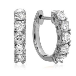 14k White Gold 1/2ct TDW Diamond Hoop Earrings (I-J, I1-I2)