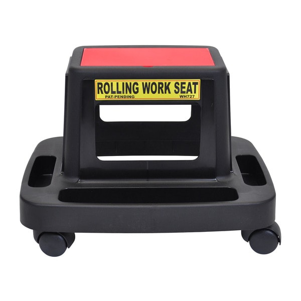 "Luxor Mechanics Seat Black With Red Lid Top 2"" Casters"