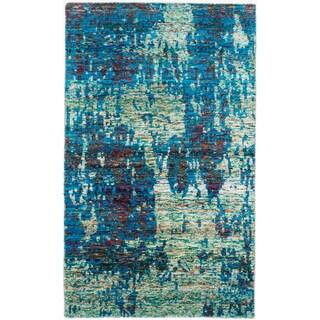 ecarpetgallery Sari Silk Blue Sari Silk Rug (4'11 x 8'1)