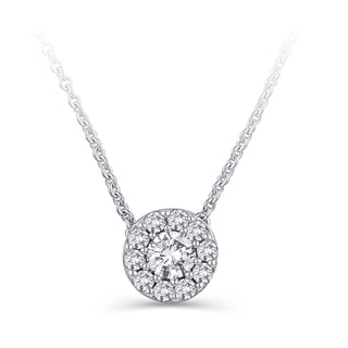 Elan 14k White Gold 1/2ct TDW Colorless Diamond Circle Pendant Necklace (E-F, I1-I2)