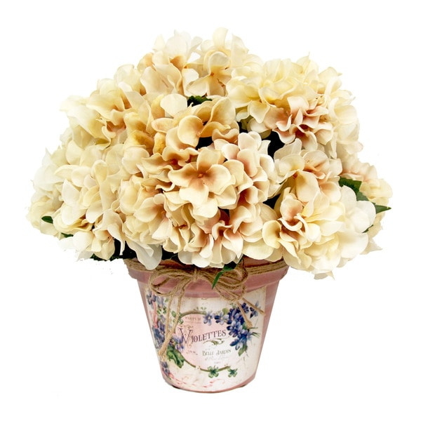 Cream Hydrangea Silk Bouquet In Embellished Clay Pot