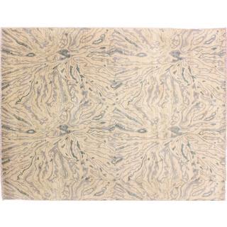 Oushak Shahlo Ivory Hand-knotted Rug (8'10 x 11'9)