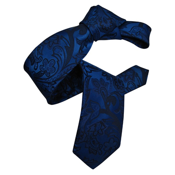 Dmitry Men's Royal Blue Patterned Italian Silk Tie