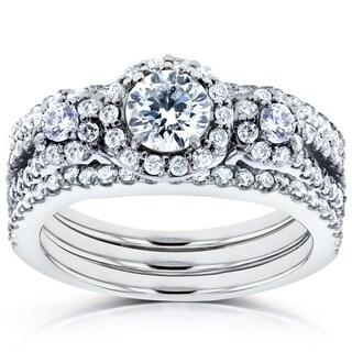 Annello 14k White Gold 1 2/5ct TDW Three Stone Diamond 3-Piece Bridal Rings Set (H-I, I1-I2)