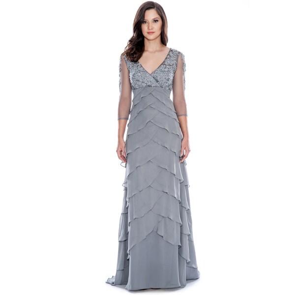 Decode 1.8 Grey 3/4 Sleeve Tiered Dress
