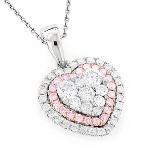 Luxurman 14k Two-tone Gold 1ct TDW White and Pink Diamonds Heart Pendant (G-H, VS1-VS2)