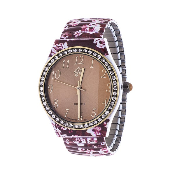 Walflower Ladies Collection with CZ ring Case / Brown Alloy Strap Watch