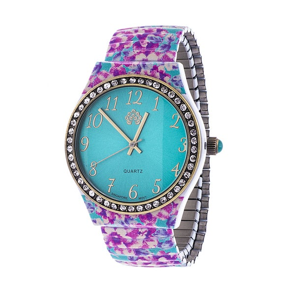 Walflower Ladies Collection with CZ ring Case / Pink & Blue Alloy Strap Watch