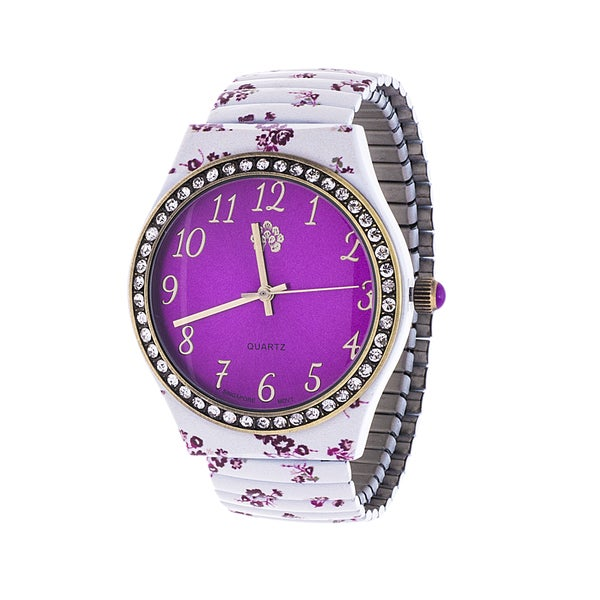 Walflower Ladies Collection with CZ ring Case / White & Purple Alloy Strap Watch