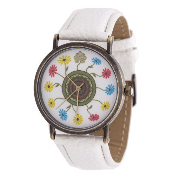 Walflower Ladies Collection with Flower Design Dial / White Leather Strap Watch