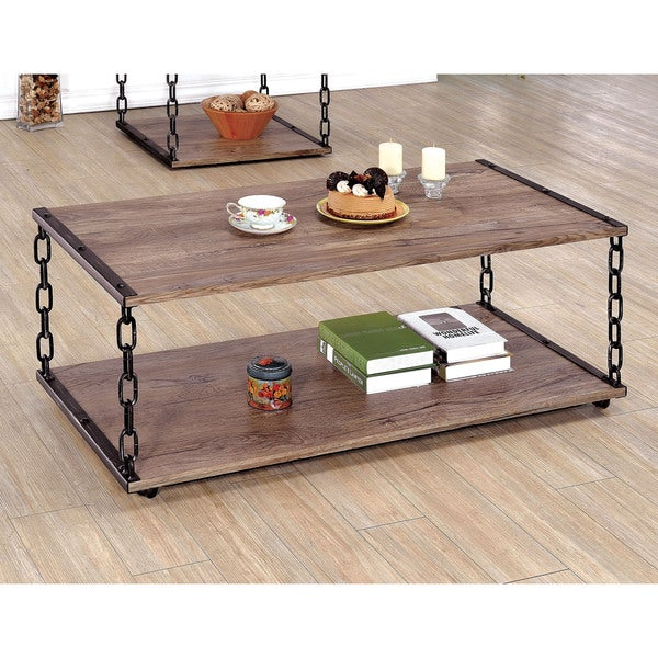 Furniture of America Porteno Industrial Chain Link Coffee Table