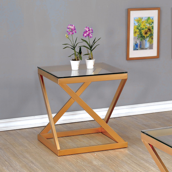 Furniture of America Mayla Contemporary Metallic Gold Glass Top End Table