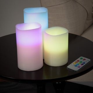 Lavish Home 3 Piece LED Color Changing Flameless Candle Set with Remote
