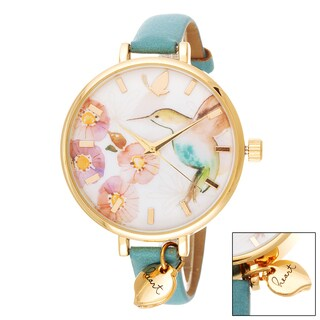Kathy Davis Scatter Joy Gold Case Floral Dial / Turquoise Leather Strap Watch