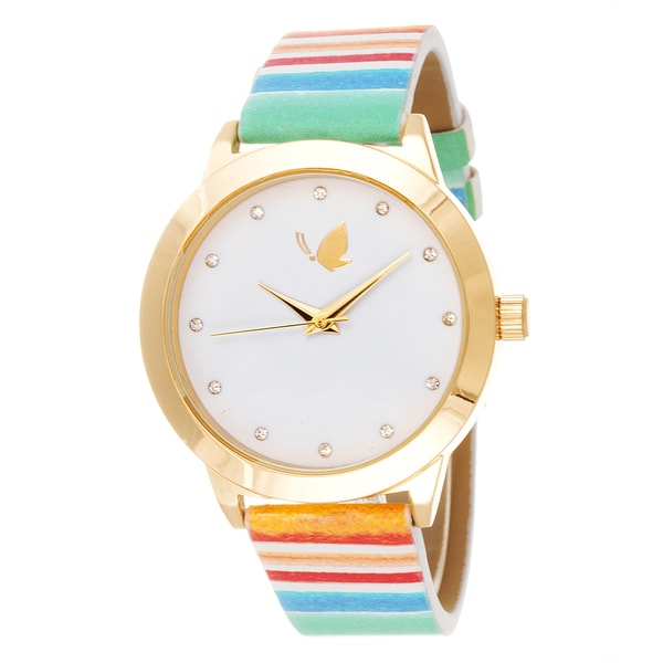 Kathy Davis Scatter Joy Gold Case / Green Stripped Strap Watch