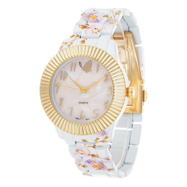 Kathy Davis Scatter Joy Gold Case / White Flower Strap Watch