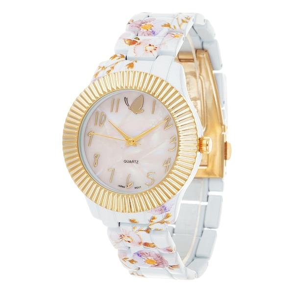 Kathy Davis Scatter Joy Gold Case / White Flower Strap Watch
