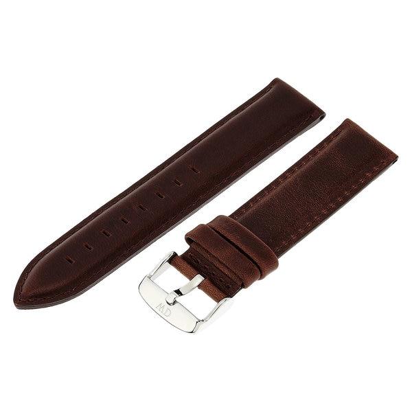 Daniel Wellington Bristol Silver Men's Brown Leather 20 mm Buckle Watch Strap