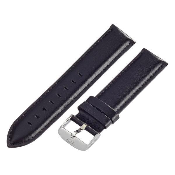 Daniel Wellington Sheffield Silver Men's Black Leather Buckle Watch Strap