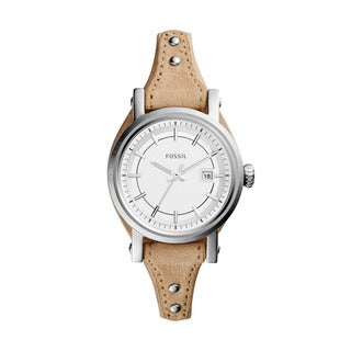 Fossil Women's ES3908 Original Boyfriend White Dial Beige Leather Watch