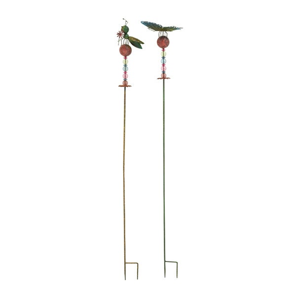 Assorted Metal Bead Insect Ground Stakes (Set of 2)