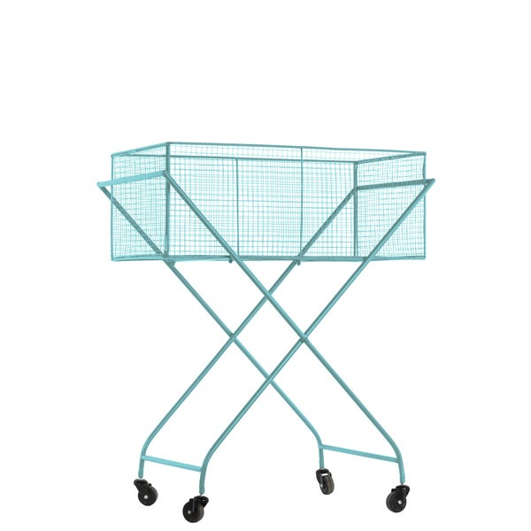Metal Rectangular Blue Laundry Cart with Mesh Sides and Casters