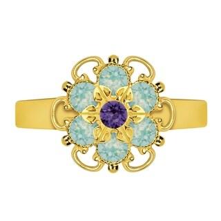 Lucia Costin Sterling Silver Mint Blue/ Violet Crystal Adjustable Ring
