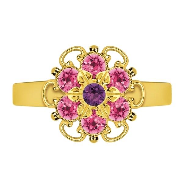 Lucia Costin Sterling Silver Violet/ Pink Crystal Adjustable Ring