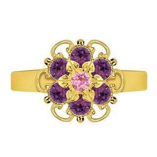 Lucia Costin Sterling Silver Violet/ Light Pink Crystal Adjustable Ring