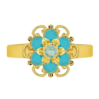 Lucia Costin Sterling Silver Turquoise/ Mint Blue Crystal Dots Ring